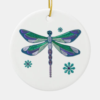 Dragonfly Elegant Jeweled  Folk Art Ceramic Ornament