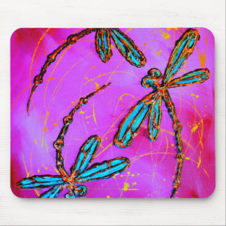 Dragonfly Flit Electric Pink Mouse Pad