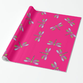Dragonfly Flurry With Hot Pink Background Wrapping Wrapping Paper