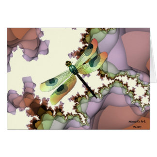 Dragonfly Fractals Card (Earthy)