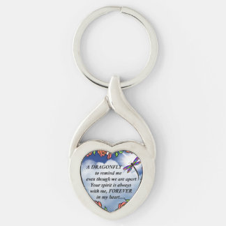 Dragonfly From Heaven Silver-Colored Twisted Heart Key Ring