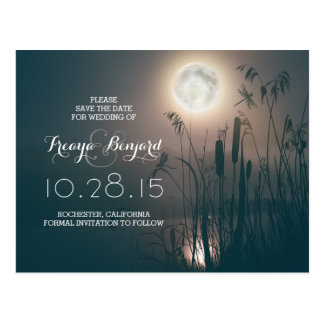 dragonfly full moon night & cattails save the date postcard