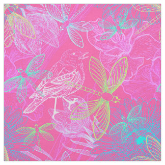 Dragonfly Garden Hot Pink ID496 Fabric