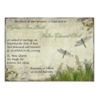 Dragonfly Garden Vintage Wedding Invitation