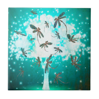 Dragonfly Glow Tree Ceramic Tile