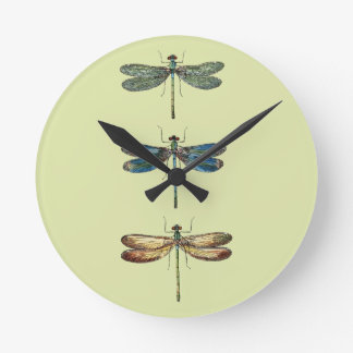 Dragonfly Illustrations Round Clock