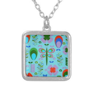 dragonfly in the garden silver plated necklace