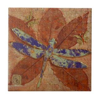 Dragonfly In Violet Ceramic Tile