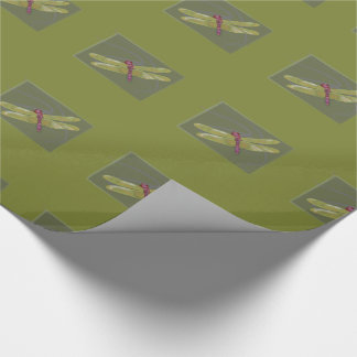 Dragonfly Insect green wrapping paper gift wrap