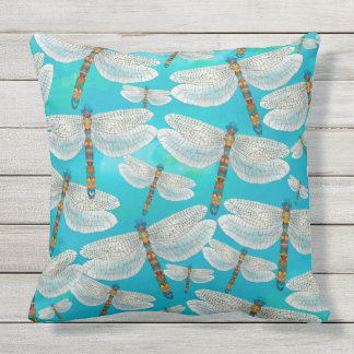 Dragonfly Lake, Turquoise Outdoor Cushion