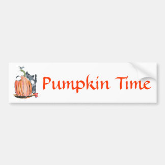 Dragonfly Leads Kitten Through the Pumpkin Patch Bumper Sticker