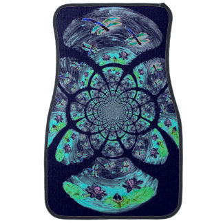 Dragonfly Lilly Flowers Pattern Floor Mat