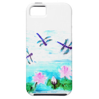 Dragonfly Lily Flowers Pond Painting iPhone 5/5S Cases