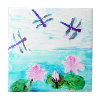 Dragonfly, Lily Flowers Pond Painting Small Square Tile