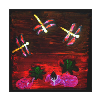 Dragonfly Lily Pond Abstract Art Canvas Print