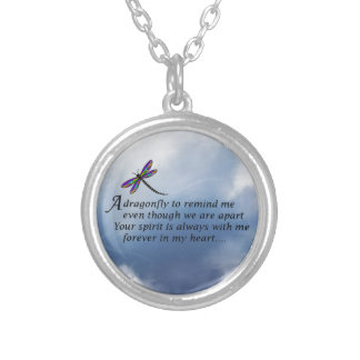 Dragonfly  Memorial Poem Silver Plated Necklace