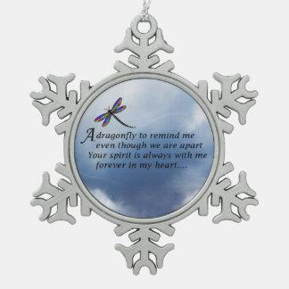 Dragonfly Memorial Poem Snowflake Pewter Christmas Ornament