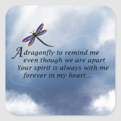 Dragonfly  Memorial Poem Square Stickers