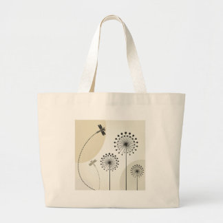 Dragonfly on a flower large tote bag