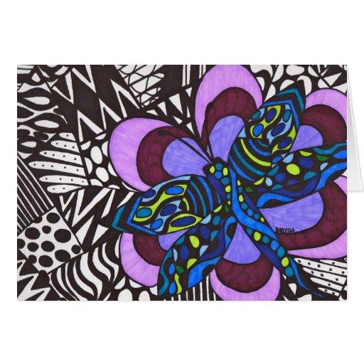 Dragonfly on flower blank card