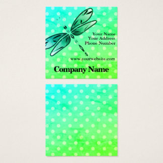 Dragonfly On Polka Dots Square Business Card