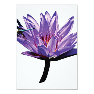 Dragonfly on Purple Water Lily Custom Invitation
