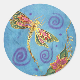 Dragonfly: original hand painted silk by Cyn MC Classic Round Sticker