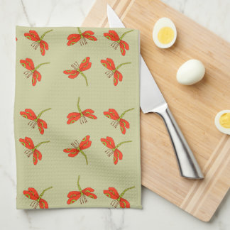 Dragonfly pattern tea towel