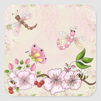 Dragonfly Pink Cherry Blossom Story Illustration Square Sticker
