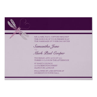 Dragonfly 'Plum' Wedding Invitations