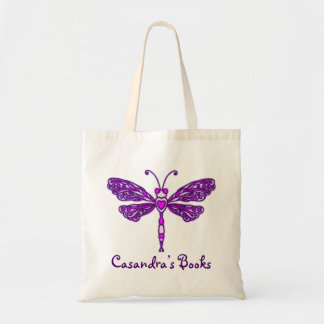Dragonfly purple kids named library tote bag