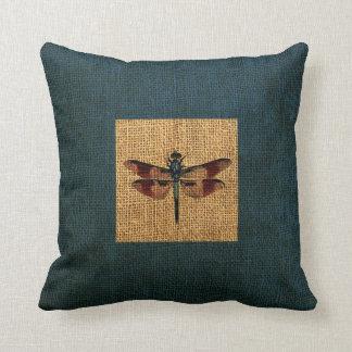 Dragonfly Rustic Deep Sea Blue Border Cushion