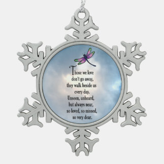 """Dragonfly """"So Loved"""" Snowflake Pewter Christmas Ornament"""