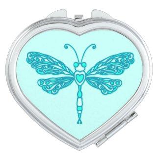 Dragonfly stylised teal aqua graphic mirror