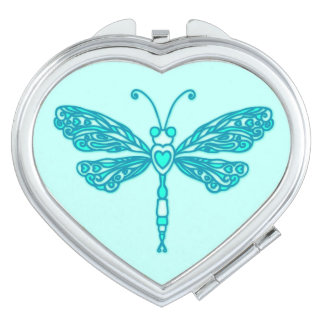 Dragonfly stylised teal aqua graphic mirror vanity mirrors