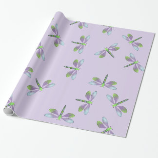 Dragonfly Swarm On Purple Wrapping Paper