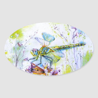 Dragonfly Touch Oval Sticker