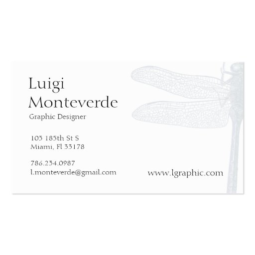 Dragonfly, Unique Personal Business Card