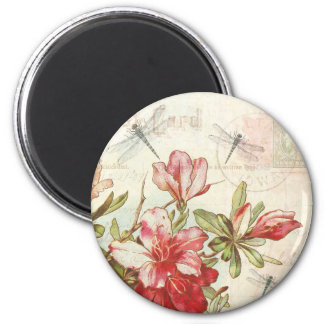 Dragonfly Vintage Floral Red Flowers Azaleas 6 Cm Round Magnet