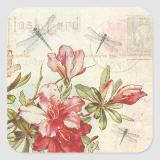 Dragonfly Vintage Floral Red Flowers Azaleas Square Sticker