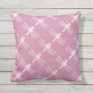 Dragonfly Vintage Inspired Pink Insect Bug Pattern Outdoor Cushion
