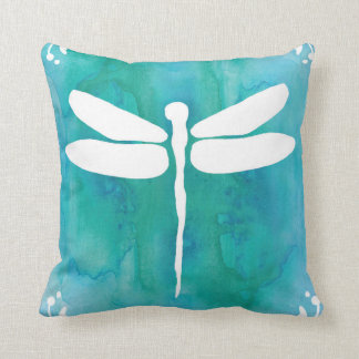 Dragonfly Watercolor White Aqua Blue Dragonflies Cushions