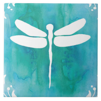 Dragonfly Watercolor White Aqua Blue Dragonflies Large Square Tile