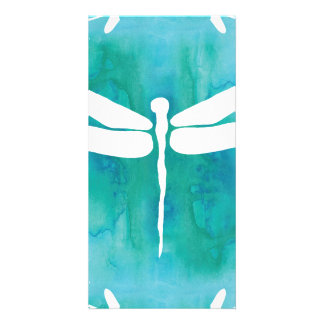 Dragonfly Watercolor White Aqua Blue Dragonflies Picture Card