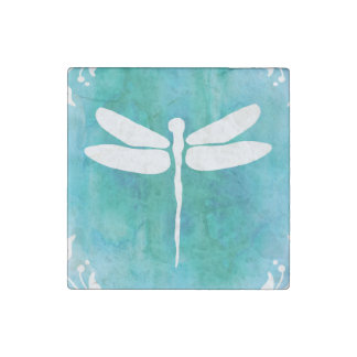 Dragonfly Watercolor White Aqua Blue Dragonflies Stone Magnet