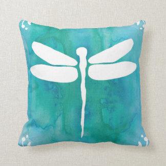Dragonfly Watercolor White Aqua Blue Dragonflies Throw Pillow