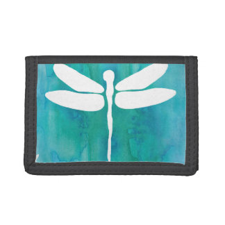 Dragonfly Watercolor White Aqua Blue Dragonflies Trifold Wallet