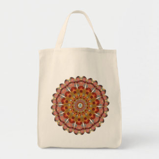Dragonfly Wing Om Mandala Tote Grocery Tote Bag