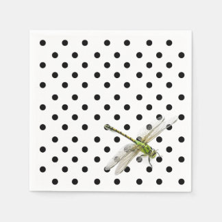 Dragonfly with black and white polka dots disposable serviette