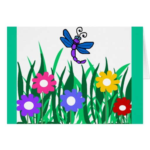 Dragonfly with flowers blank card